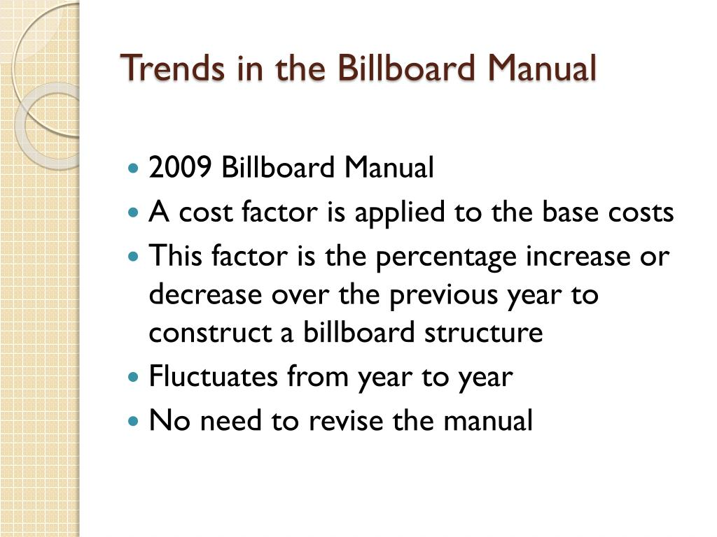 Trends in the Billboard Manual