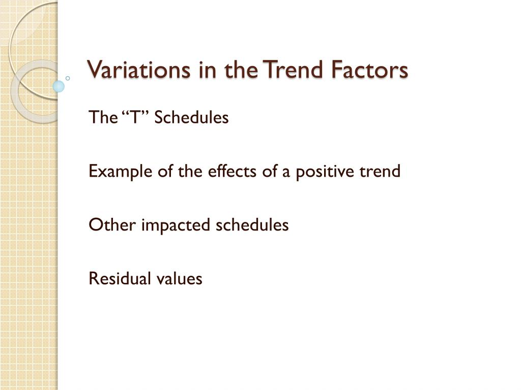 Variations in the Trend Factors