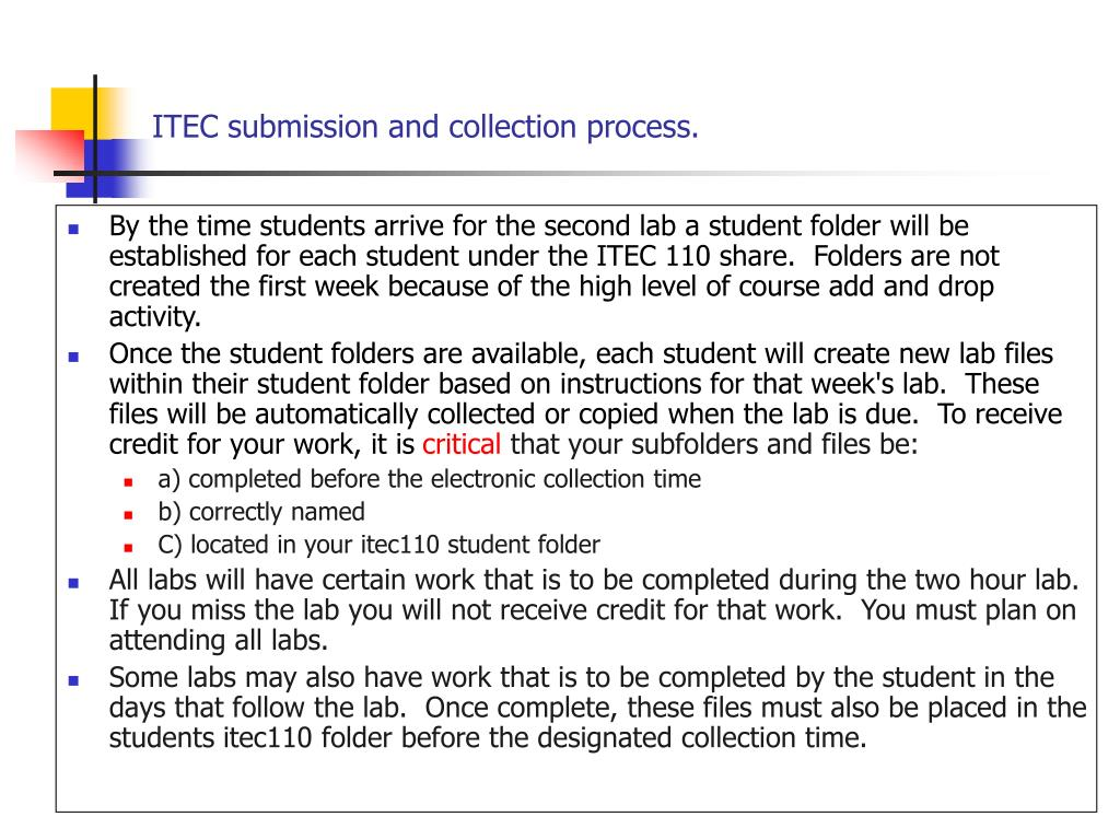 ITEC submission and collection process.