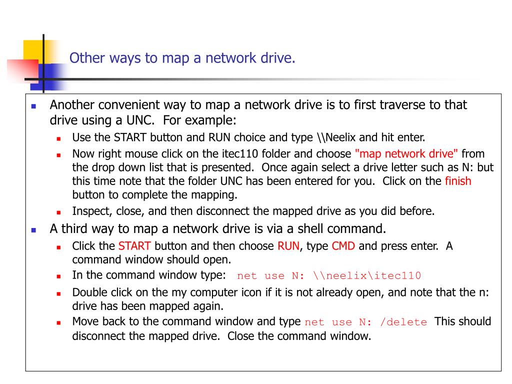 Other ways to map a network drive.