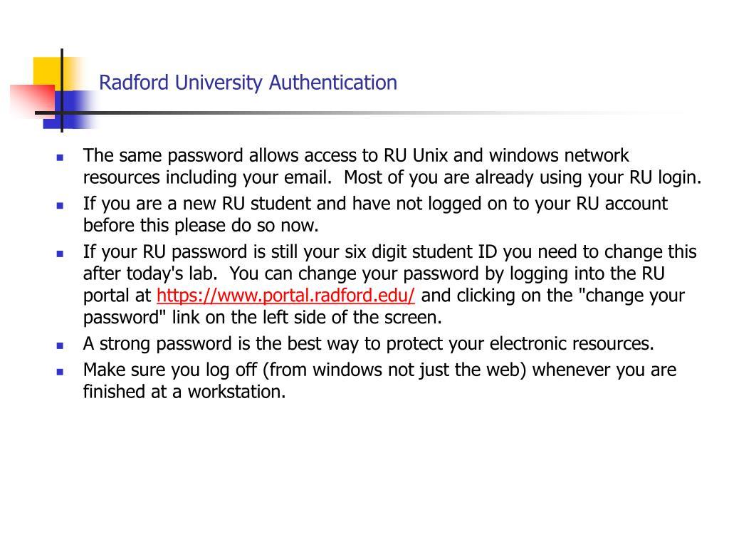 Radford University Authentication
