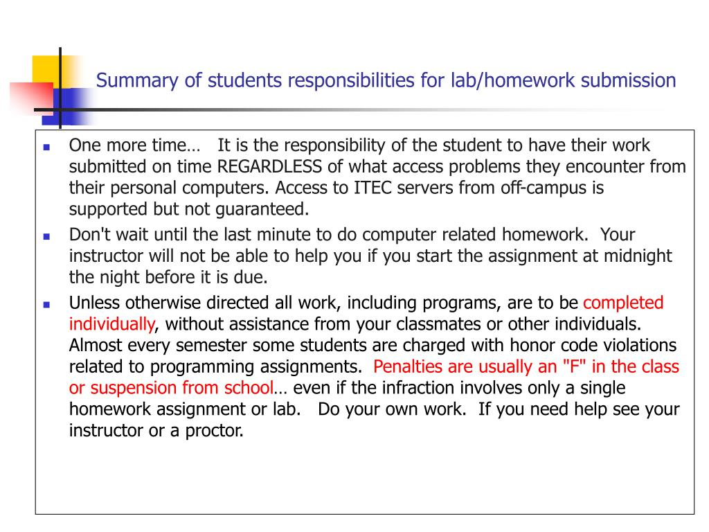 Summary of students responsibilities for lab/homework submission