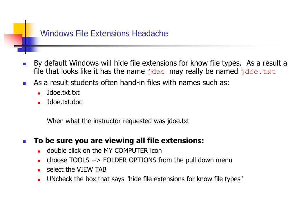 Windows File Extensions Headache