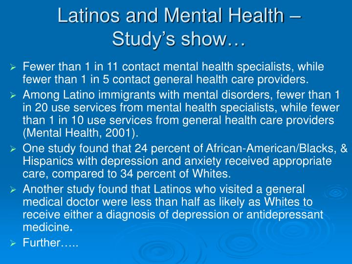 Latinos and Mental Health – Study's show…
