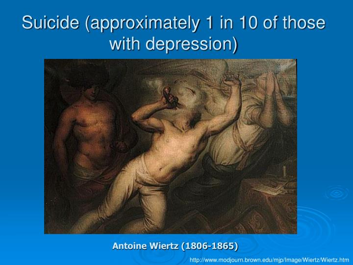 Suicide (approximately 1 in 10 of those with depression)