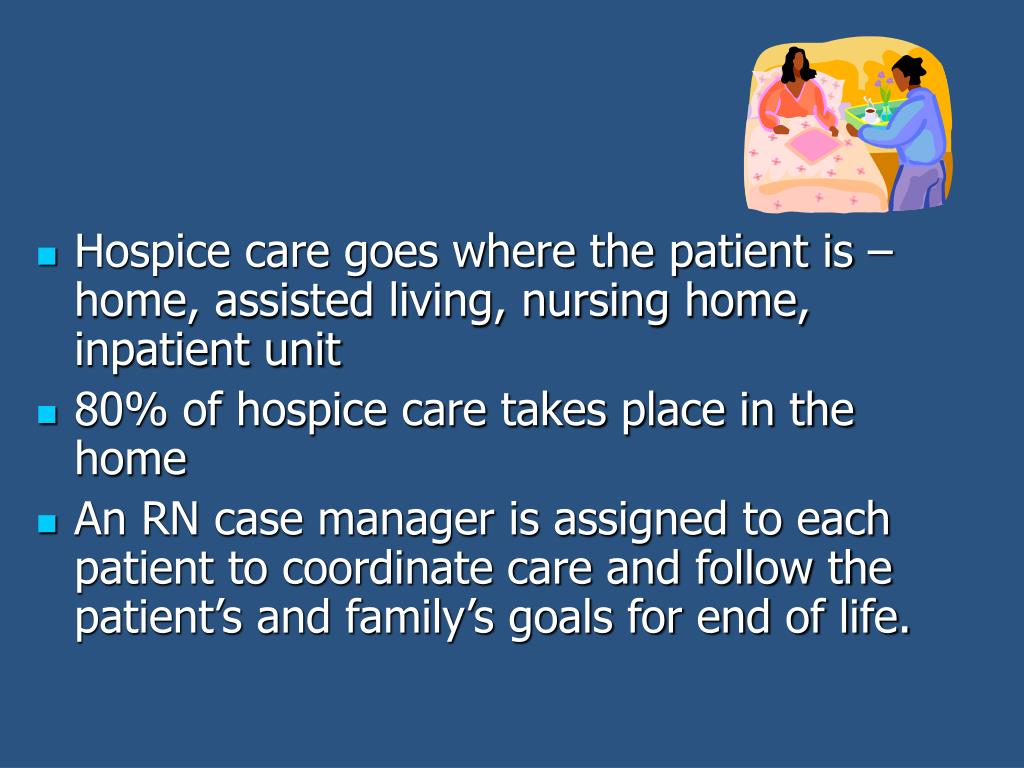 Hospice care goes where the patient is – home, assisted living, nursing home, inpatient unit