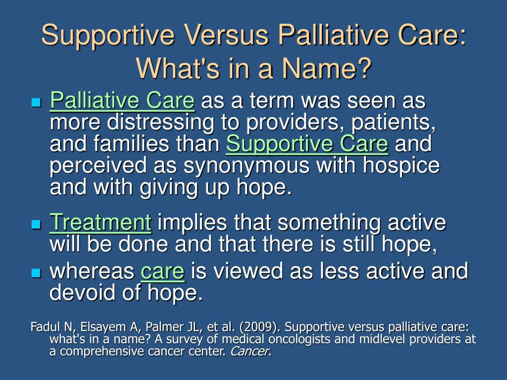 Supportive Versus Palliative Care: What's in a Name?