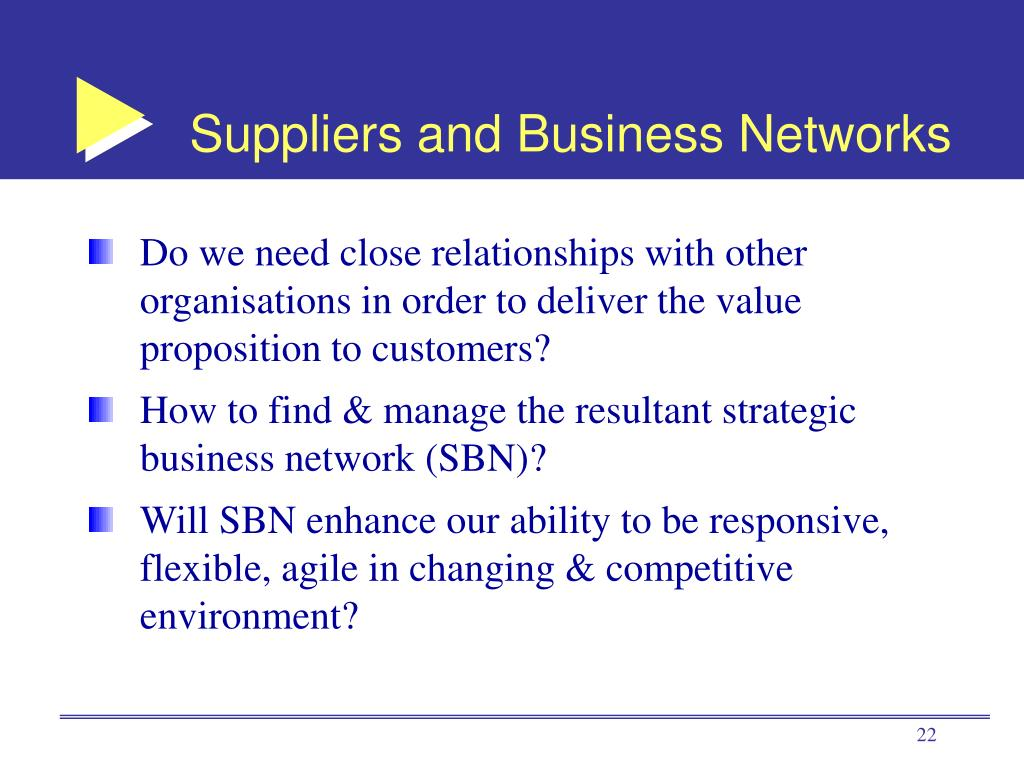 Suppliers and Business Networks