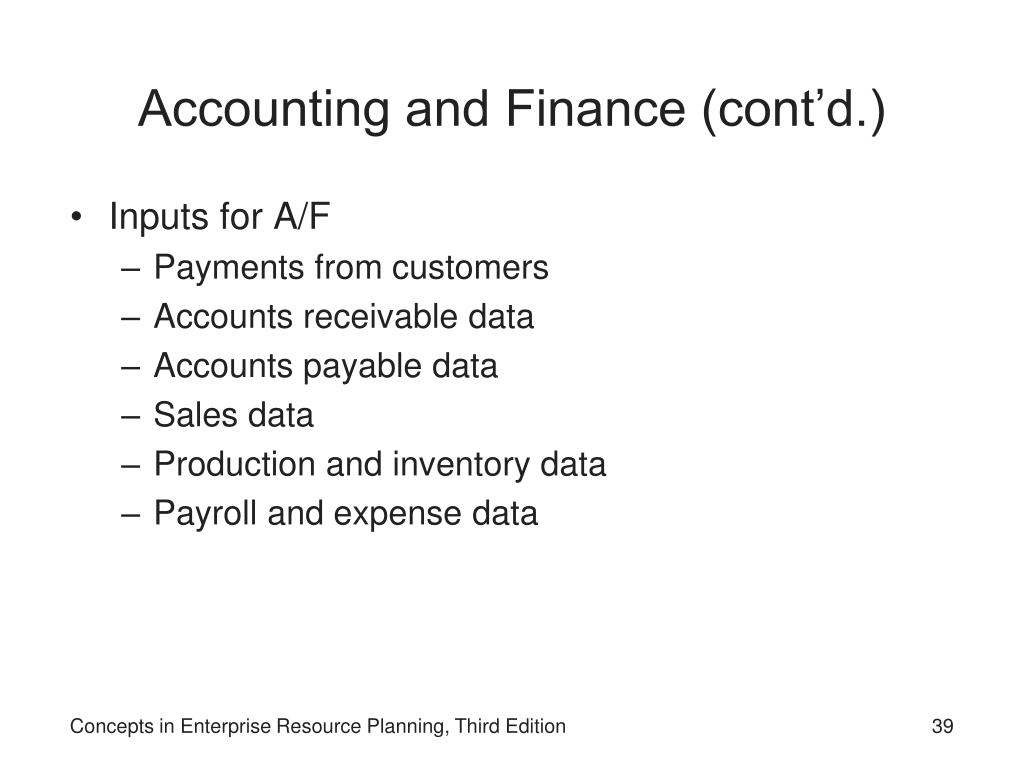 Accounting and Finance (cont'd.)