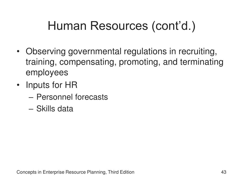 Human Resources (cont'd.)