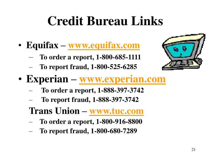 Credit Bureau Links