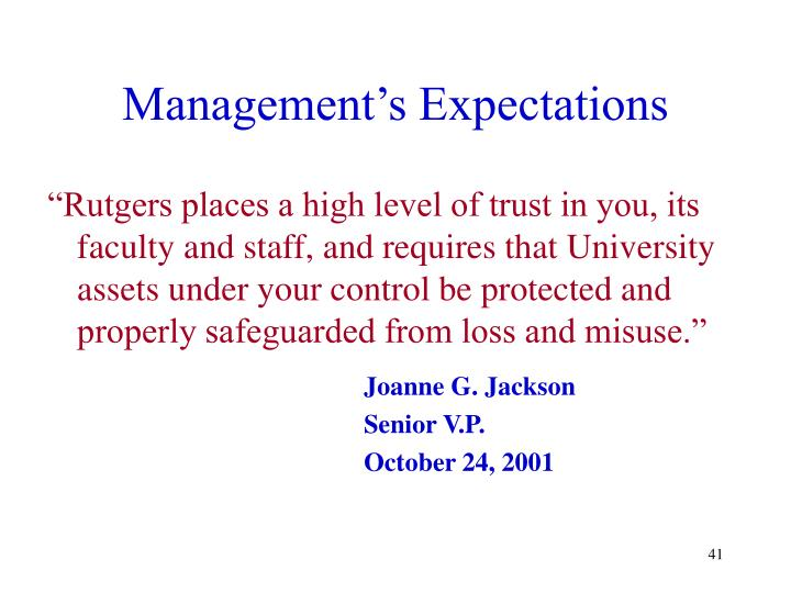 Management's Expectations