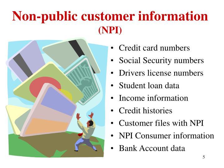 Non-public customer information