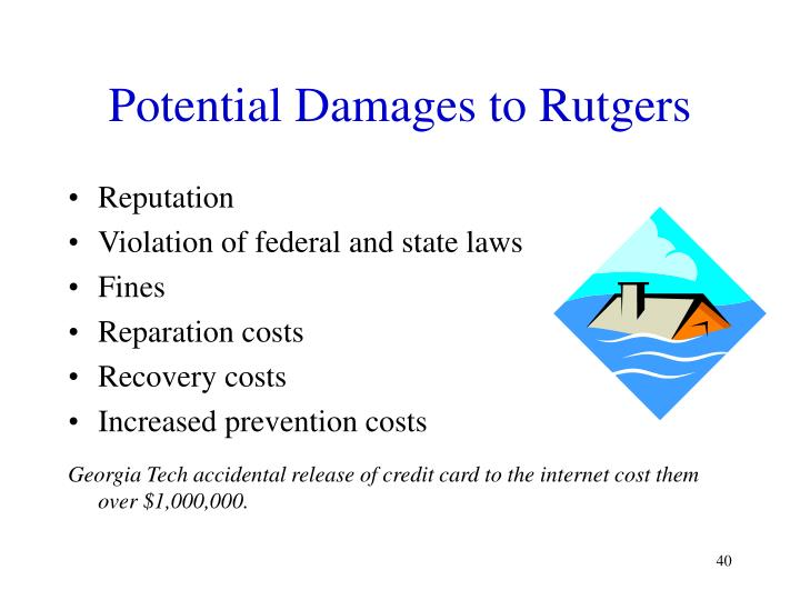 Potential Damages to Rutgers