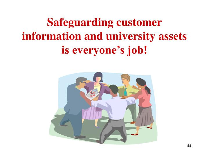 Safeguarding customer information and university assets is everyone's job!