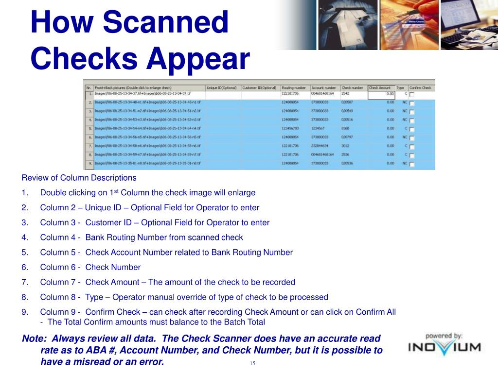 How Scanned Checks Appear