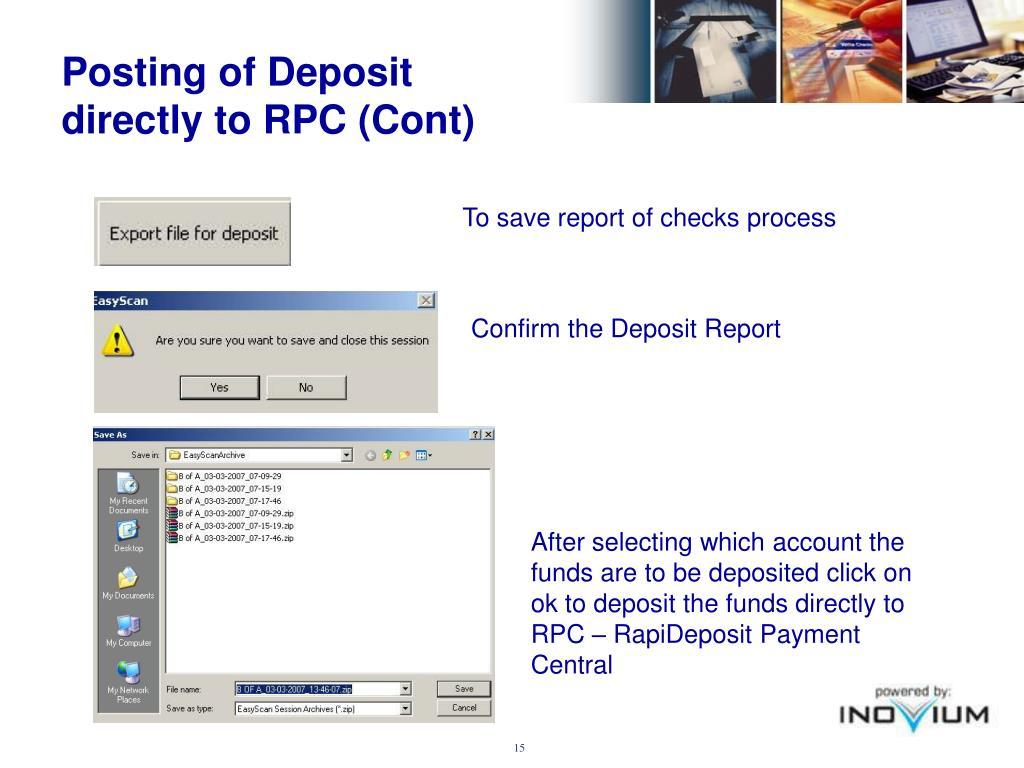 Posting of Deposit