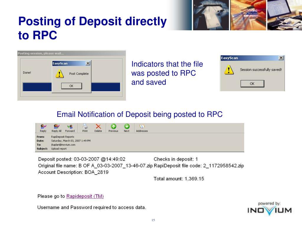 Posting of Deposit directly