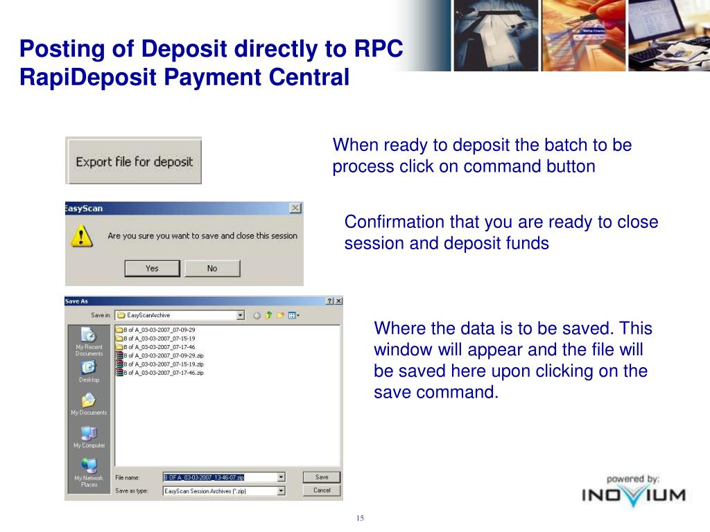 Posting of Deposit directly to RPC