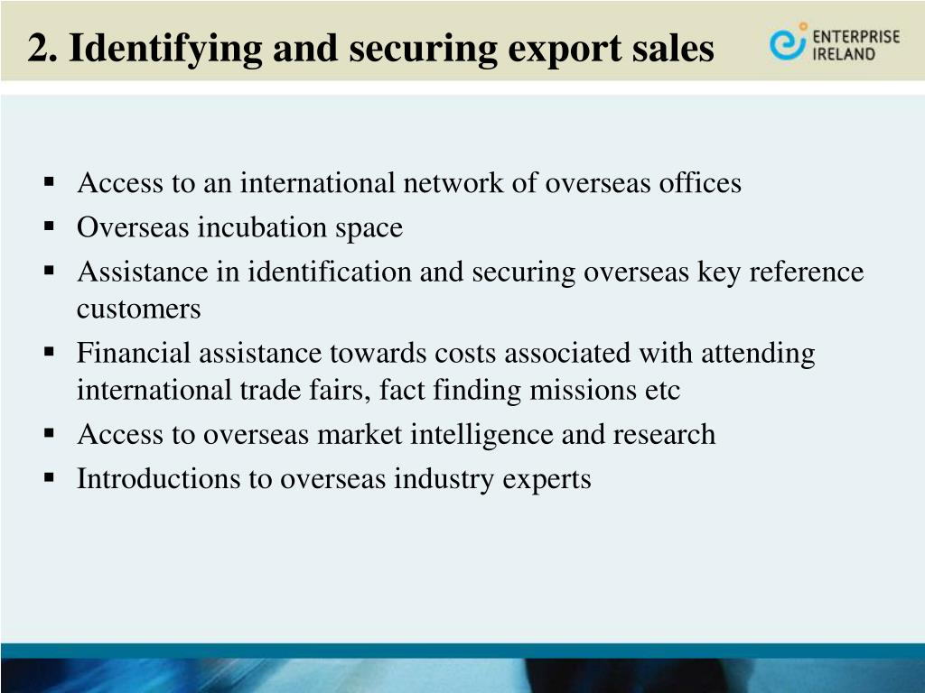 2. Identifying and securing export sales