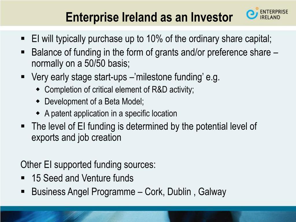 Enterprise Ireland as an Investor