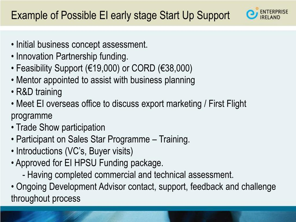 Example of Possible EI early stage Start Up Support