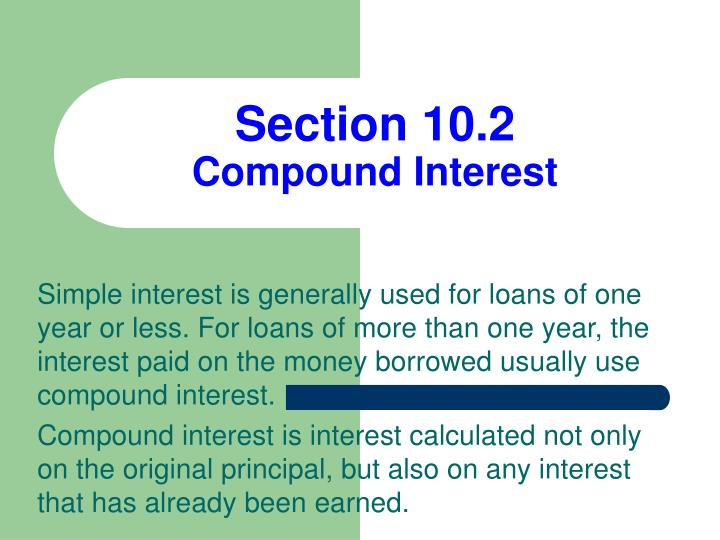 Section 10 2 compound interest