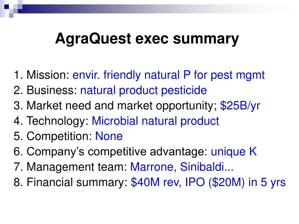 AgraQuest exec summary