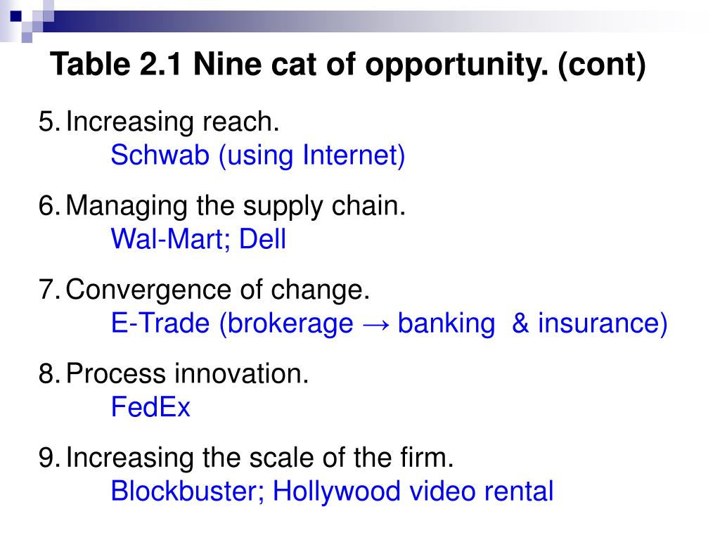 Table 2.1 Nine cat of opportunity. (cont)