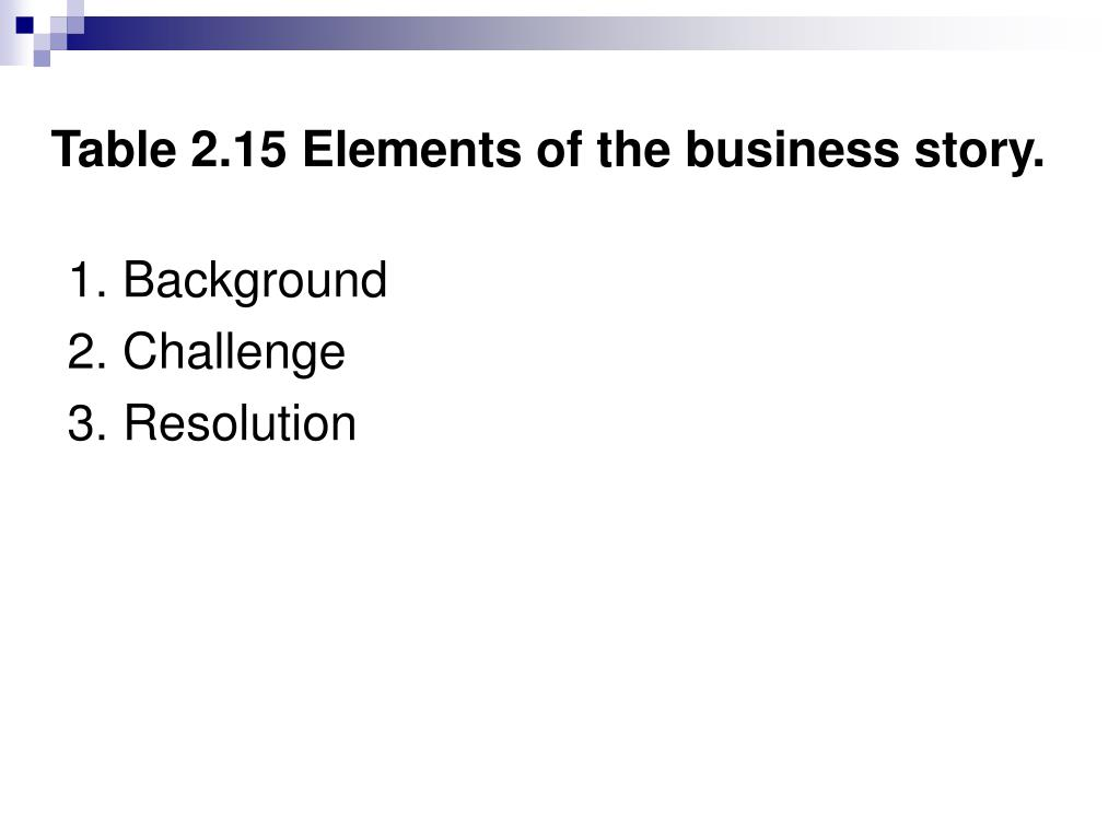 Table 2.15 Elements of the business story.