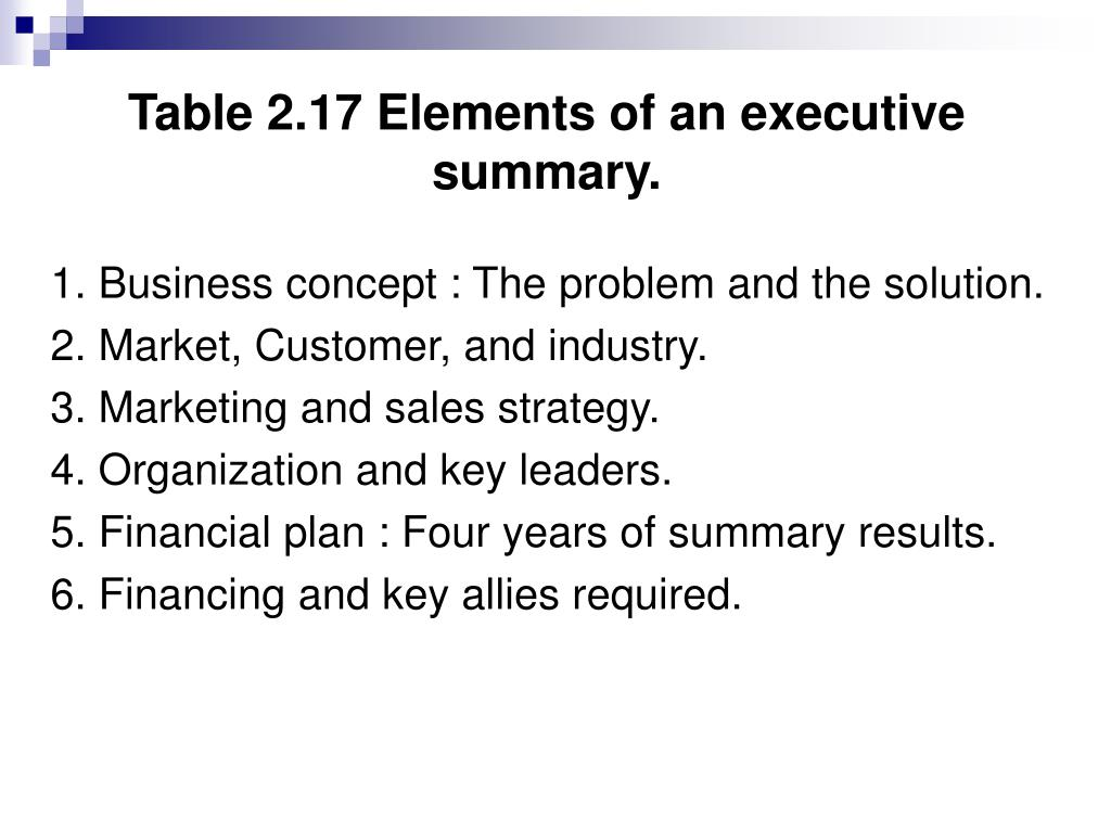 Table 2.17 Elements of an executive summary.