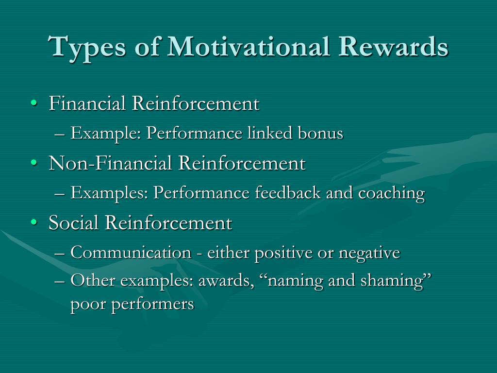 Types of Motivational Rewards