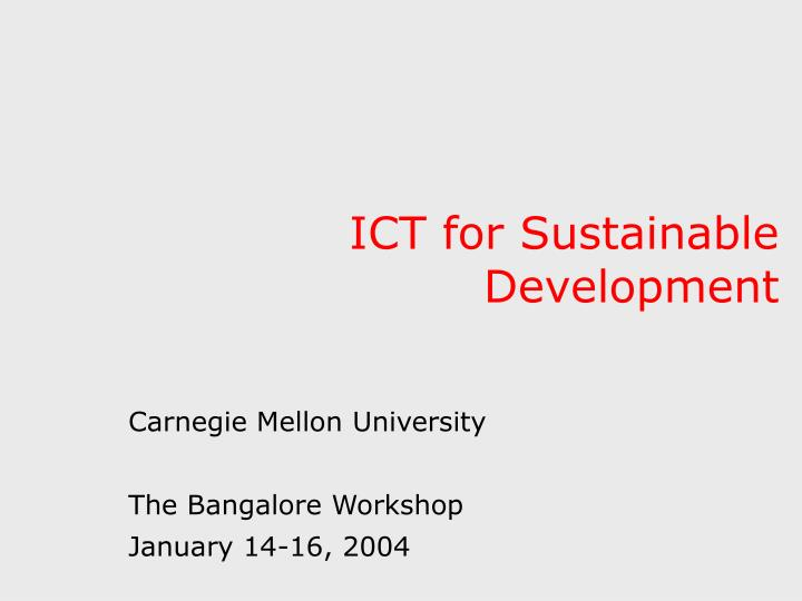 Ict for sustainable development