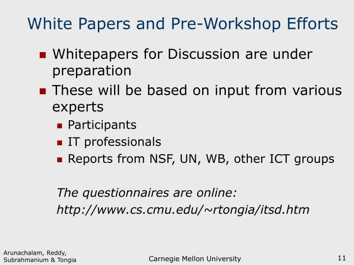 White Papers and Pre-Workshop Efforts