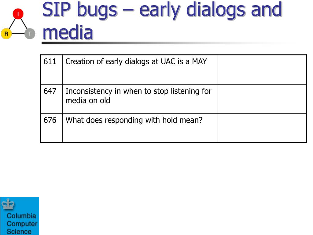 SIP bugs – early dialogs and media