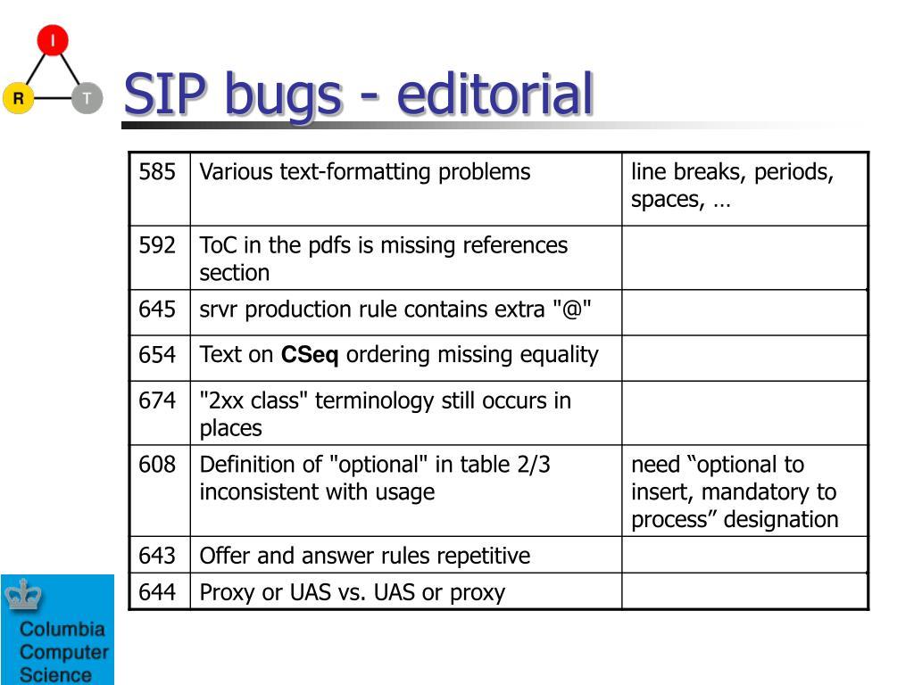 SIP bugs - editorial