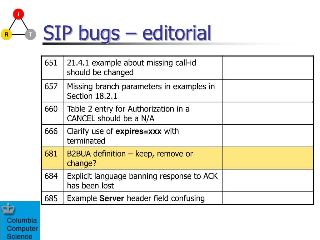 SIP bugs – editorial