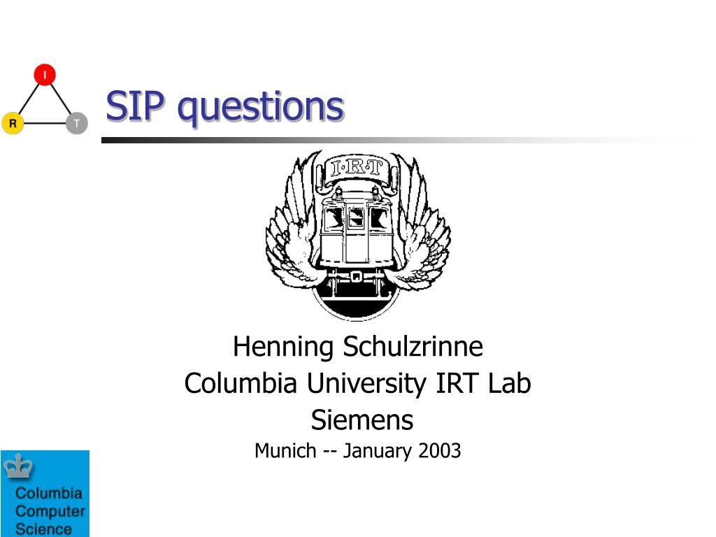 SIP questions