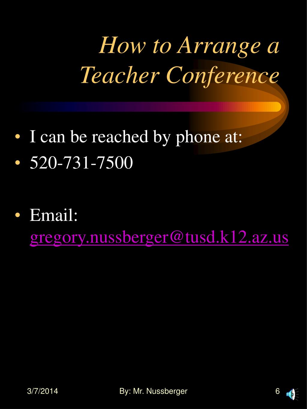 How to Arrange a Teacher Conference