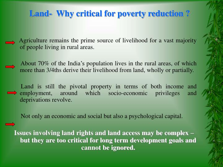 Land-  Why critical for poverty reduction ?