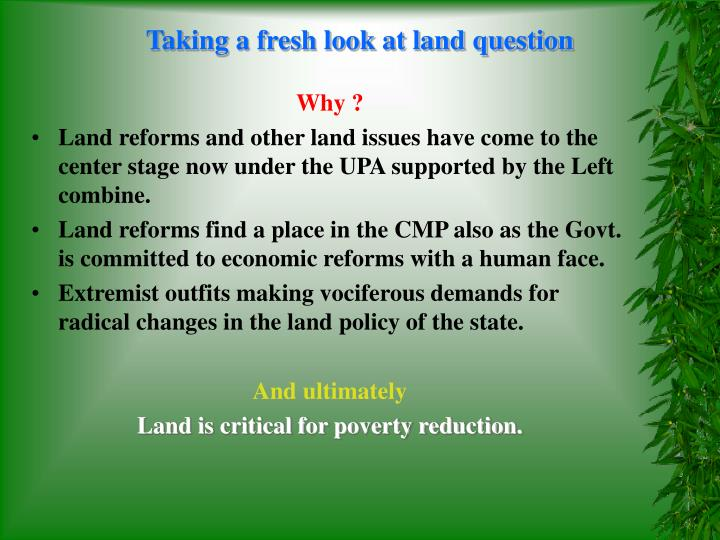 Taking a fresh look at land question