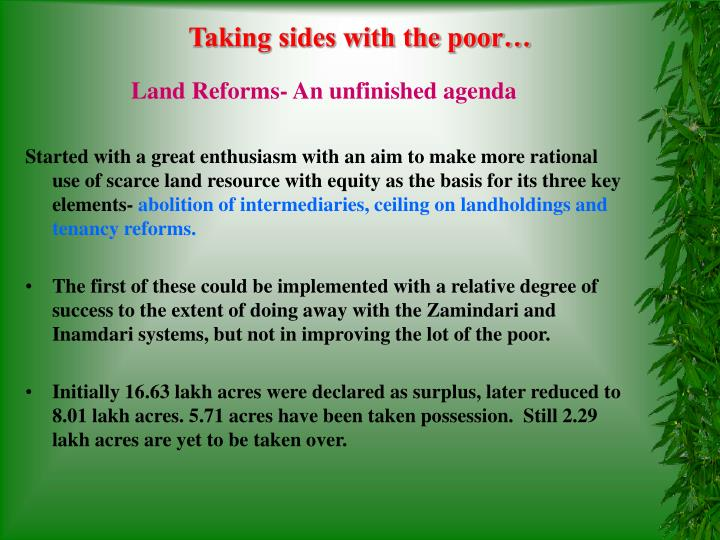 Taking sides with the poor…