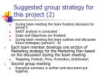 suggested group strategy for this project 2
