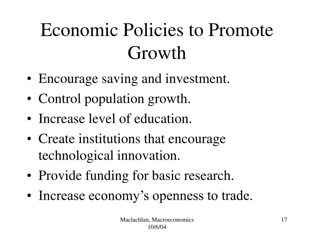 Economic Policies to Promote Growth