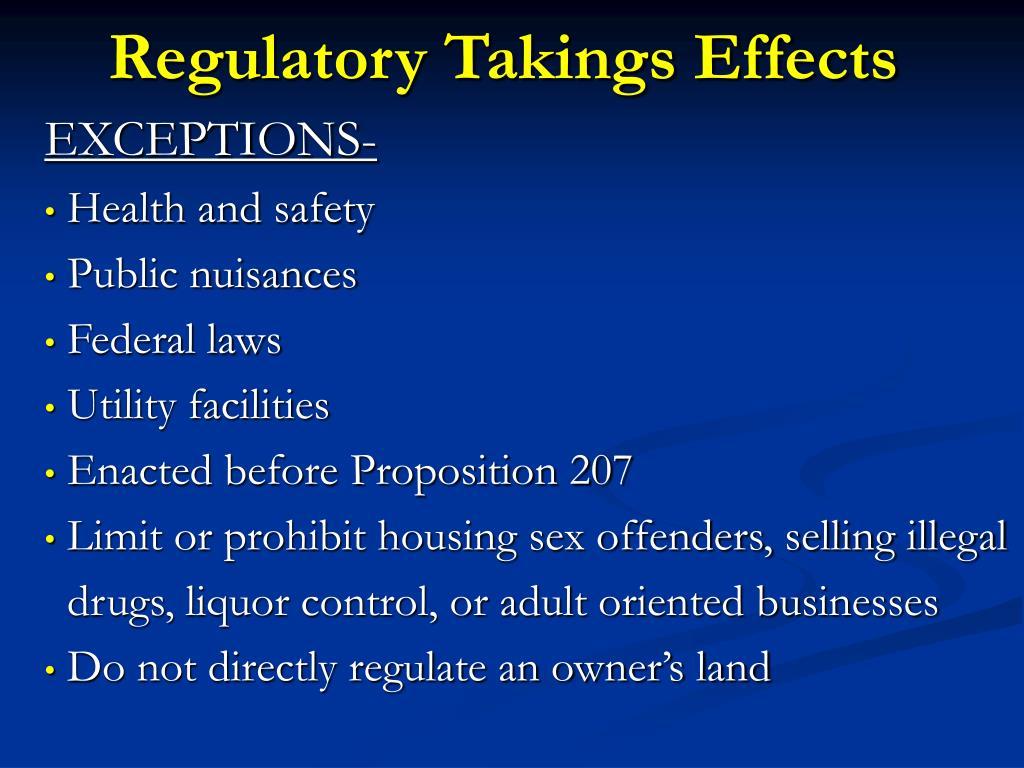 Regulatory Takings Effects