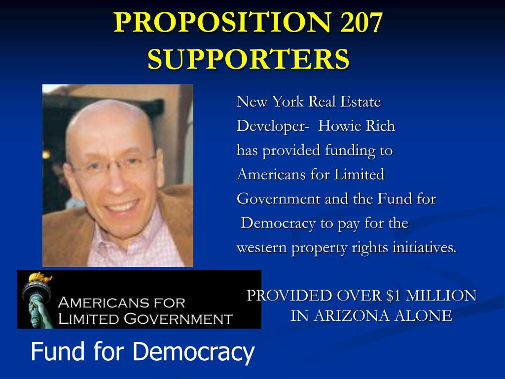 PROPOSITION 207 SUPPORTERS