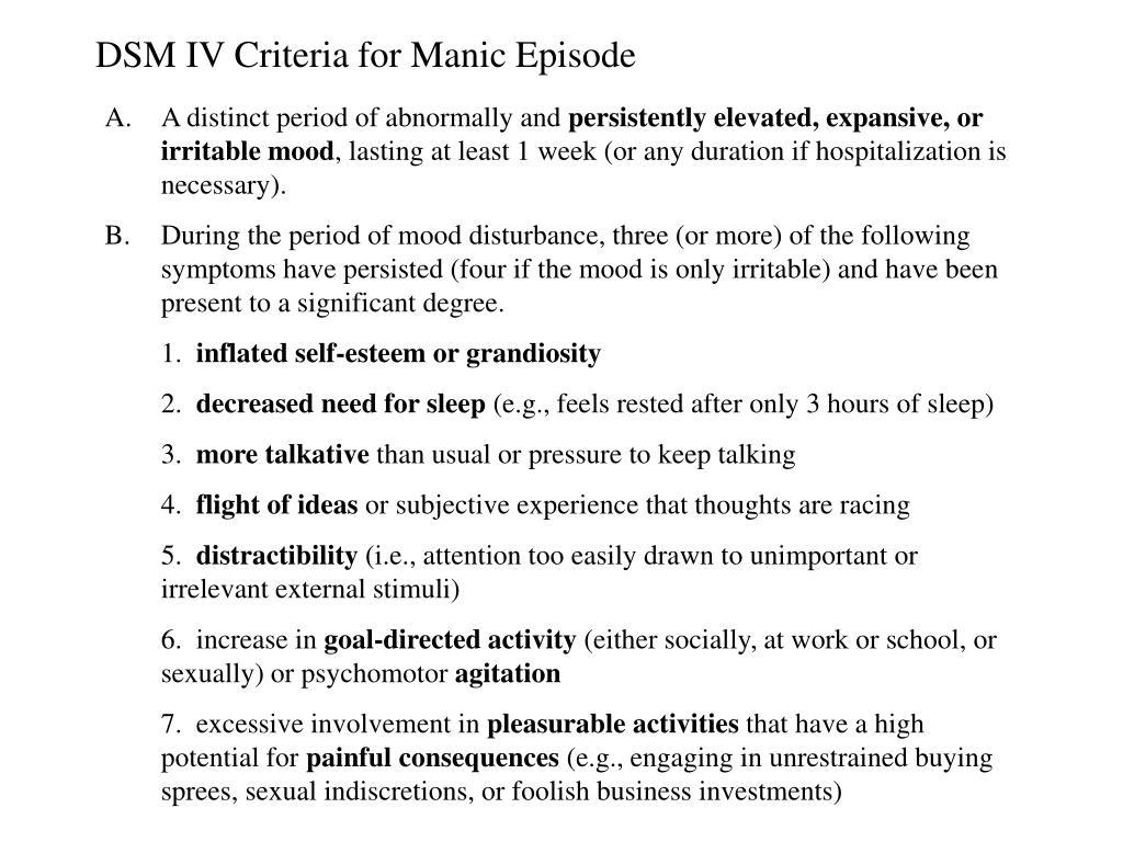 DSM IV Criteria for Manic Episode