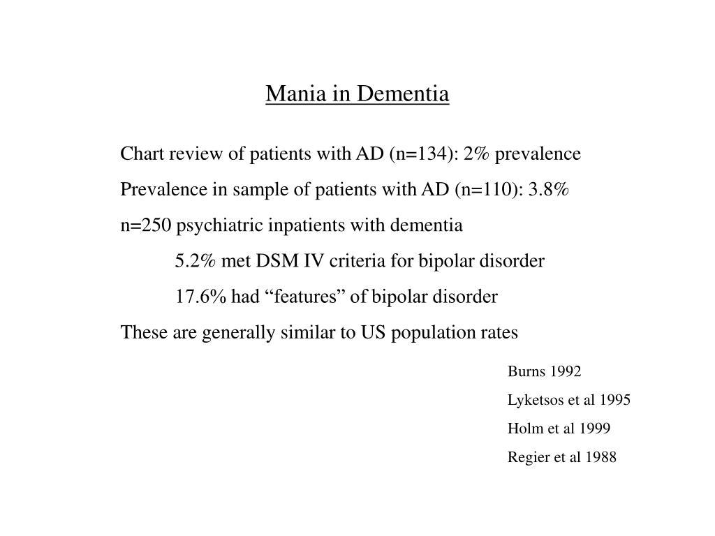 Mania in Dementia