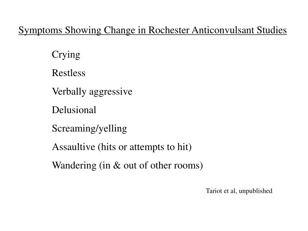 Symptoms Showing Change in Rochester Anticonvulsant Studies