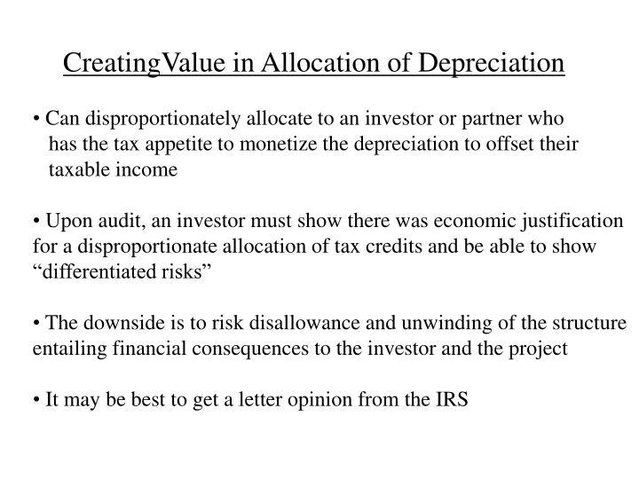 CreatingValue in Allocation of Depreciation